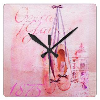 Vintage Pink Watercolor Ballerina Dancer Ballet Square Wall Clock
