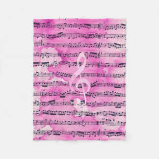 Vintage pink watercolor classical clef music sheet fleece blanket