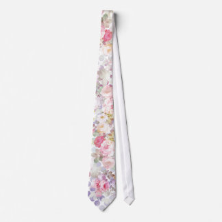 Vintage Pink Watercolor Roses Floral Polka Dots Tie