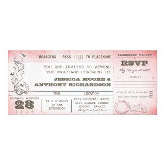 vintage pink wedding boarding pass invitations