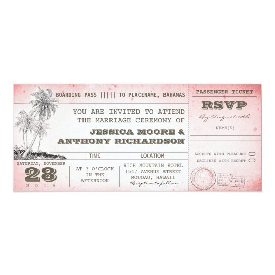 vintage pink wedding boarding pass with palms card