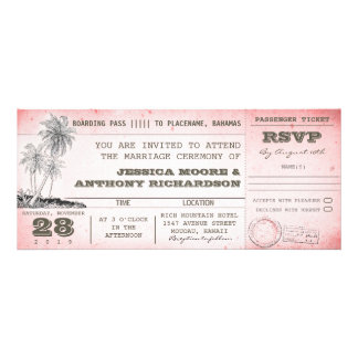 vintage pink wedding boarding pass with palms personalized invite