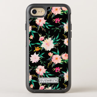 Vintage Pink White Black Watercolor Floral Pattern OtterBox Symmetry iPhone 7 Case