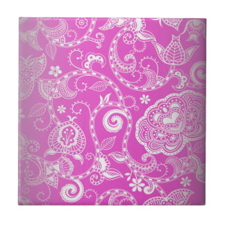 Vintage Pink White Floral Damask Pattern Small Square Tile