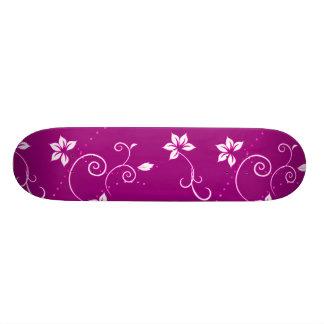Vintage Pink White Floral Polka Dots Pattern Custom Skate Board