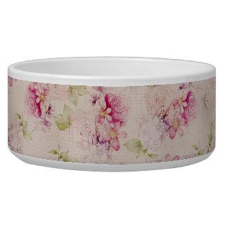 Vintage pink  white green roses flowers pattern pet bowl