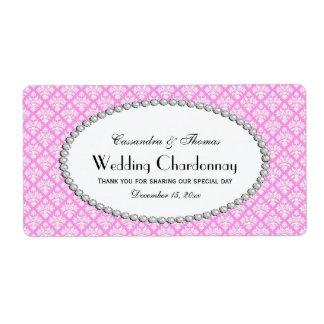 Vintage Pink Wht Damask Pearl 2H Wine Bottle Label Shipping Label