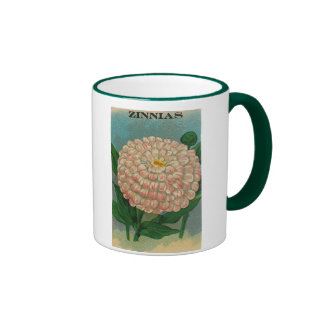 vintage pink zinnia seed packet mug