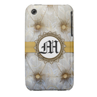 Vintage Pintuck Fabric Monogram IPHONE 3 Cell Case iPhone 3 Cover
