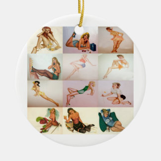 Vintage Pinup Collage - 12 Gorgeous Girls In 1 Christmas Ornament