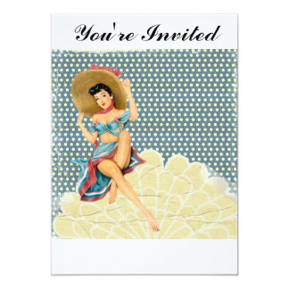Vintage Pinup Girl 13 Cm X 18 Cm Invitation Card