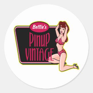 Vintage Pinup Girl Classic Round Sticker