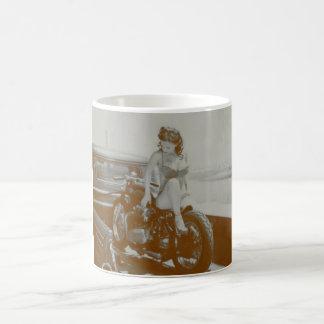 VINTAGE PINUP GIRL ON MOTOCYCLE. COFFEE MUGS