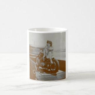VINTAGE PINUP GIRL ON MOTOCYCLE. MUG