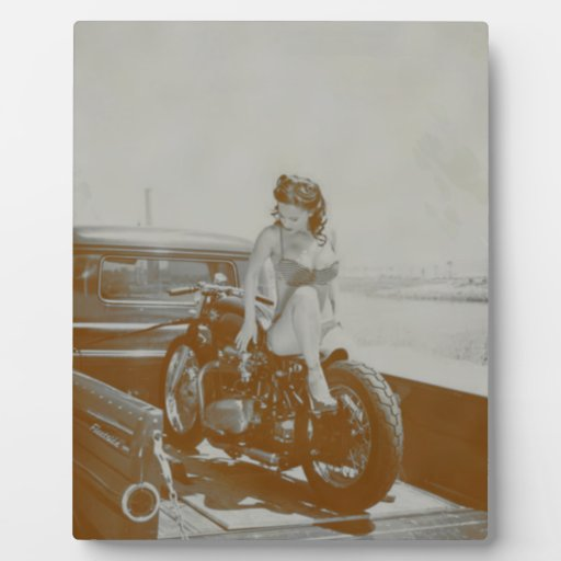 VINTAGE PINUP GIRL ON MOTOCYCLE. PHOTO PLAQUES