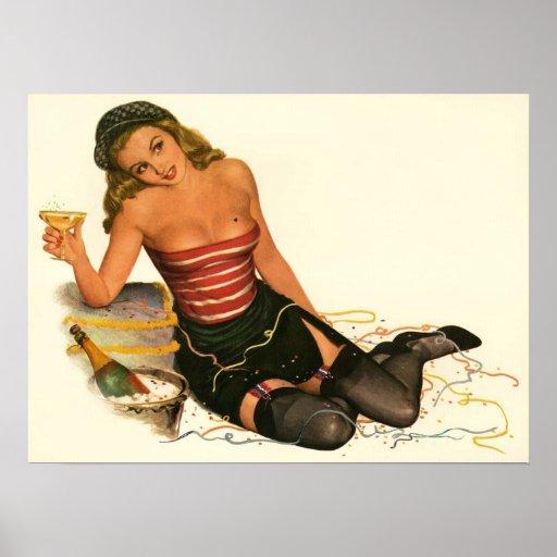 Vintage Pinup Girl Original Coloring 11 Poster