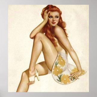Vintage Pinup Girl Original Coloring 1 Poster