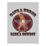 Vintage Pinup Girl Save a horse ride a cowboy Postcards