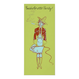 Vintage Pinup Woman Cowgirl Cigarette Smoking 10 Cm X 24 Cm Invitation Card