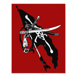 Vintage Pirate Arms Jolly Roger Flag and Weapons Invitations