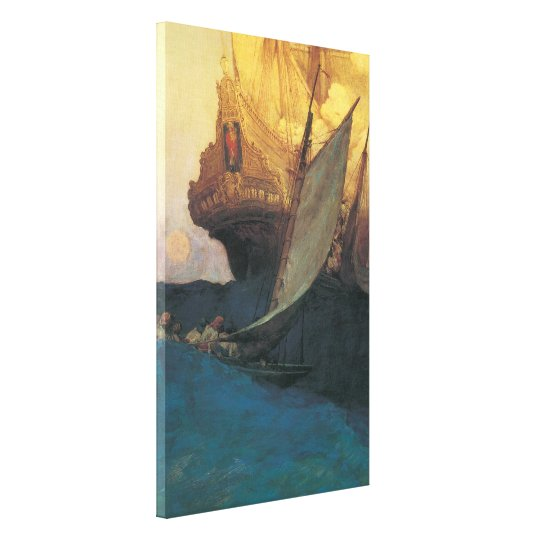 Vintage Pirate, Attack on a Galleon by Howard Pyle Canvas Print
