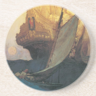 Vintage Pirate, Attack on a Galleon by Howard Pyle Drink Coasters
