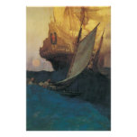 Vintage Pirate, Attack on a Galleon by Howard Pyle Print