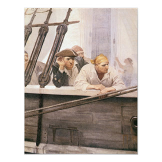 Vintage Pirate, Brig Covenant in a Fog by NC Wyeth 4.25x5.5 Paper Invitation Card