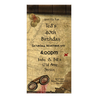 Vintage Pirate Map, Gold Coins and Vintage Look Customized Photo Card