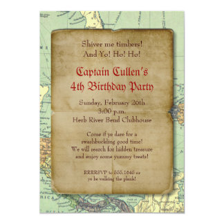 "Vintage Pirate Map Invitation 5"" X 7"" Invitation Card"