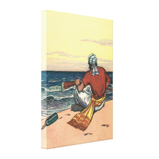 Vintage Pirate Marooned on a Deserted Island Gallery Wrap Canvas