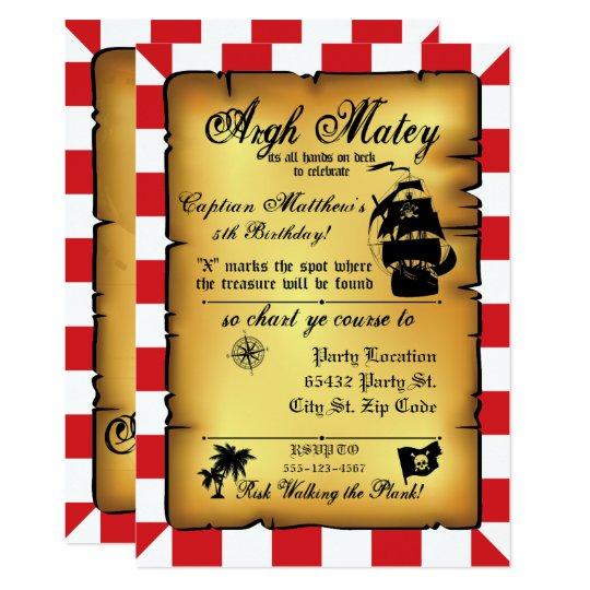 Vintage Pirate Party, Birthday Invitation. Card