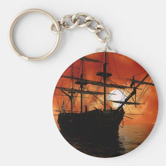 Vintage Pirate Ship Basic Round Button Key Ring