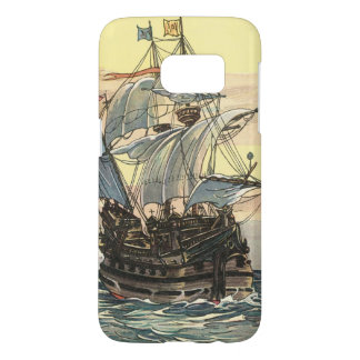 Vintage Pirate Ship, Galleon Sailing on the Ocean