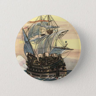 Vintage Pirate Ship, Galleon Sailing on the Ocean 6 Cm Round Badge