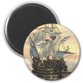 Vintage Pirate Ship, Galleon Sailing on the Ocean 6 Cm Round Magnet