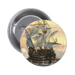 Vintage Pirate Ship Galleon Sailing on the Ocean Buttons
