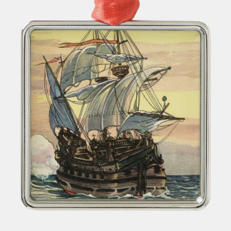 Vintage Pirate Ship, Galleon Sailing on the Ocean Christmas Ornament