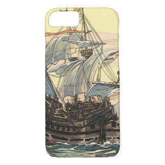 Vintage Pirate Ship, Galleon Sailing on the Ocean iPhone 8/7 Case