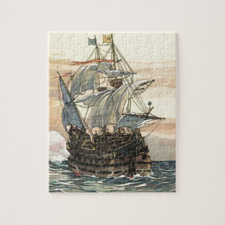 Vintage Pirate Ship, Galleon Sailing on the Ocean Jigsaw Puzzle