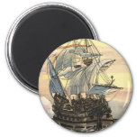 Vintage Pirate Ship Galleon Sailing on the Ocean Fridge Magnets