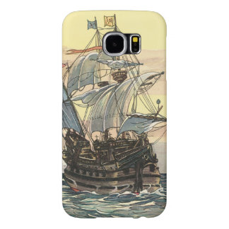 Vintage Pirate Ship, Galleon Sailing on the Ocean Samsung Galaxy S6 Cases