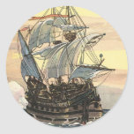 Vintage Pirate Ship Galleon Sailing on the Ocean Round Stickers
