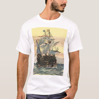 Vintage Pirate Ship, Galleon Sailing on the Ocean T-Shirt