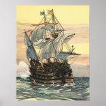 Vintage Pirate Ship Galleon Sailing the Ocean Print