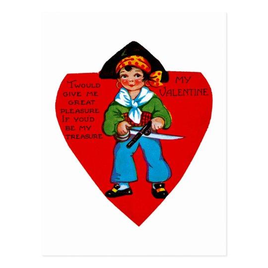 Vintage Pirate Valentine Postcard