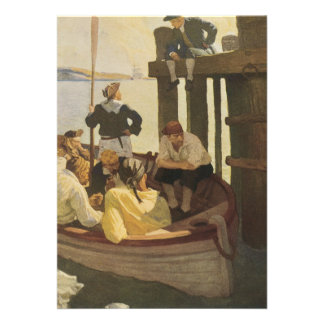 Vintage Pirates At Queen s Ferry by NC Wyeth Invitations