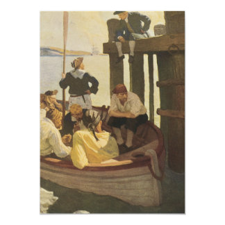 Vintage Pirates, At Queen's Ferry by NC Wyeth 13 Cm X 18 Cm Invitation Card