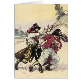Vintage Pirates, Battle Duel till Death on Beach Greeting Card