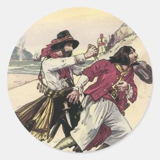 Vintage Pirates, Battle Duel till Death on Beach Round Sticker